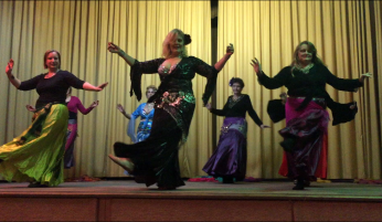 Bridgewater students performing at the Belly Dance Amethyst winter hafla